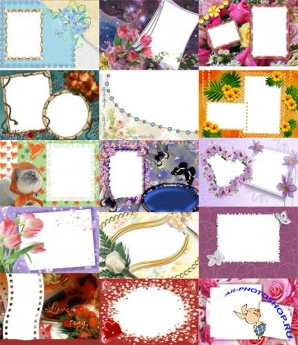 Photo frames for Valentine's Day pack 20 for Photoshop