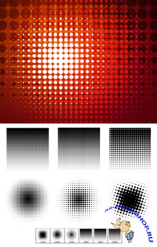 Halftone Gradients Brushes Set for Photoshop