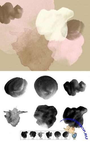 Watercolor on Paper Brushes Set for Photoshop