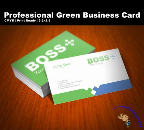PSD Template - Professional Green Business Card