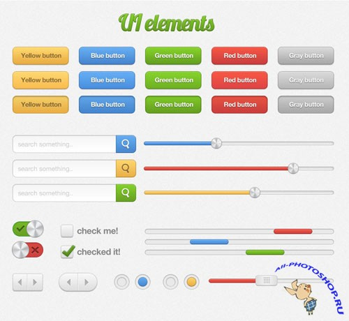 Colourful UI Web Elements PSD Template