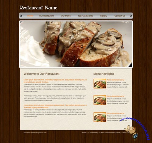 Restaurant Website PSD Template