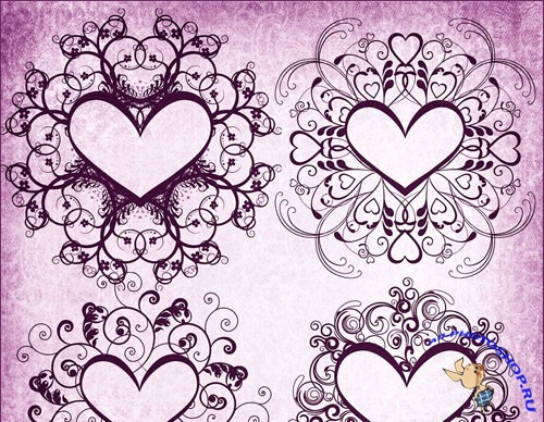 Decorative Heart Frame Brushes for Photoshop