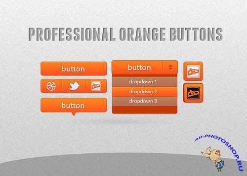 Orange Pro Buttons PSD Template