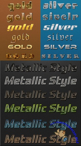 Gold and Silver Text Styles for Photoshop