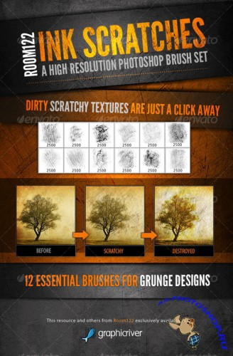 GraphicRiver - Ink Scratches Photoshop Brush Set 123822
