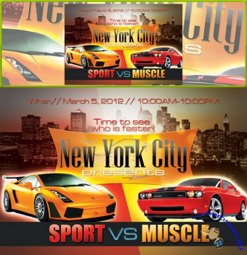 PSD Template - Sport vs Muscle Party Flyer/Poster