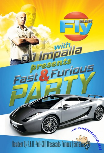 Fast & Furious Party Flyer/Poster PSD Template