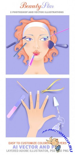 2 Beauty Star Photoshop and Vector Illustrations