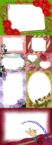 Collection of Spring Photo frames  pack 3 for Photoshop