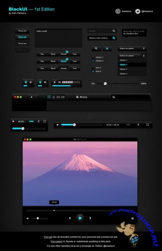 PSD Template - Black UI Web Elements v1