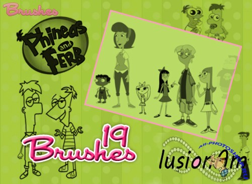 Phineas & Ferb Brushes Set for Photoshop