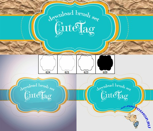 Cute Tag Brushes Set for Photoshop