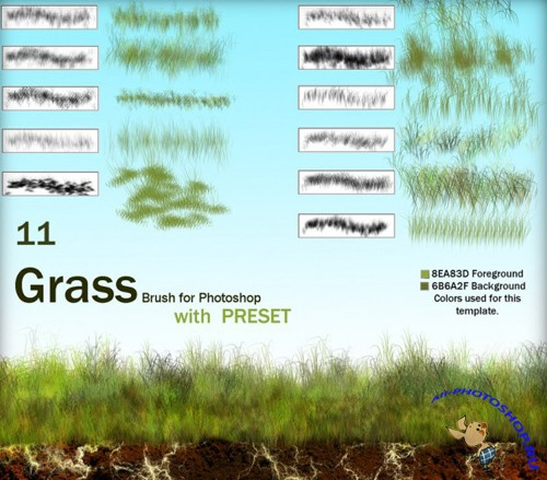Grass brush for Photoshop set 2