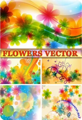 ��������� ���� � ������� / Vector flowers backgrounds