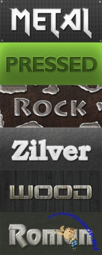 6 Styles - Roman, Metal, Pressed, Rock, Wood and Zilver