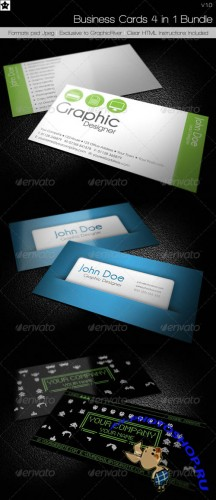 GraphicRiver - Business cards 4 in 1 Bundle 232615