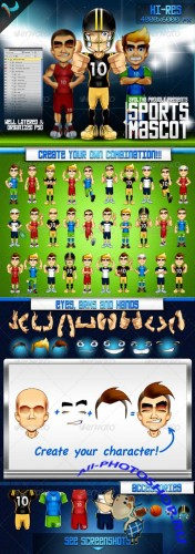 GraphicRiver - Animatable Sports Mascot Character Kit 240949