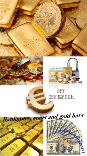 Banknotes, coins and gold bars