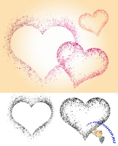 Spatter Hearts Brushes Set for Photoshop