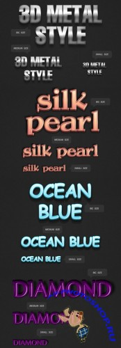 3D Diamond, Metal, Shell Pearl and Ocean Blue Text Styles