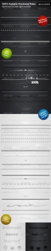 GraphicRiver - 25 Horizontal Rules / Dividers - 100% Resizable 157978