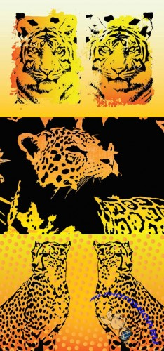 Tigers, Leopard and Jaguar Vector Animals for Photoshop