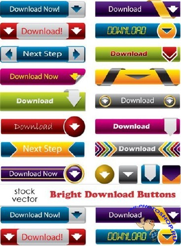 Vectors - Bright Download Buttons