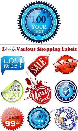 Various Shopping Labels Vector