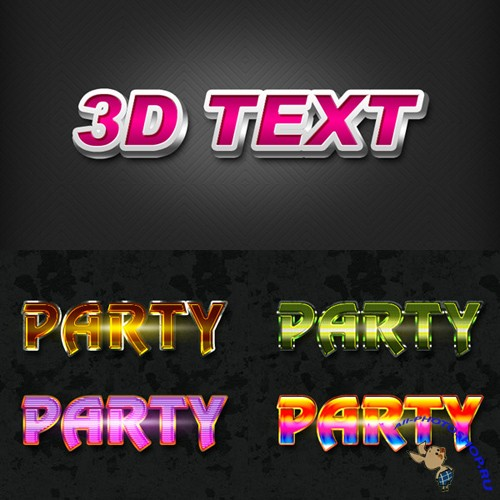 3D Text and Party Text Style for Photoshop