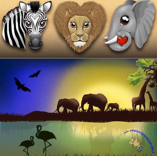 African landscape with animals For Photoshop