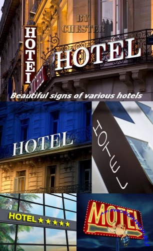 Beautiful signs of various hotels