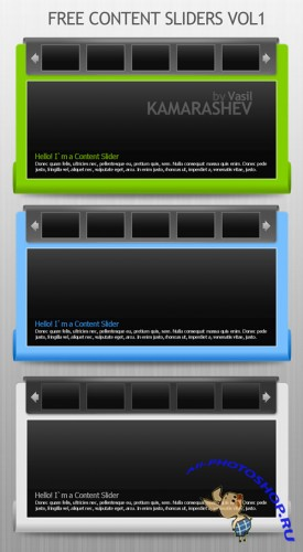 White, Green and Blue Content Sliders