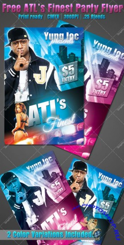 PSD Template - ATL's Finest Hip-Hop Party Flyer/Poster