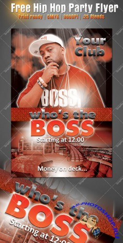 Hip Hop Boss Party Flyer/Poster PSD Template