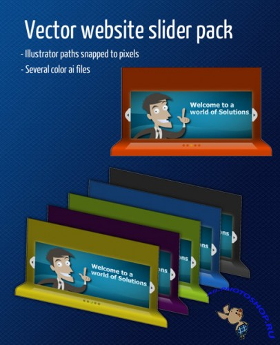 Vector Web Slider for Photoshop - Ribbon