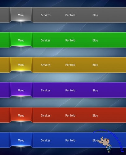 Web Vector Menu Clean 3 for Photoshop