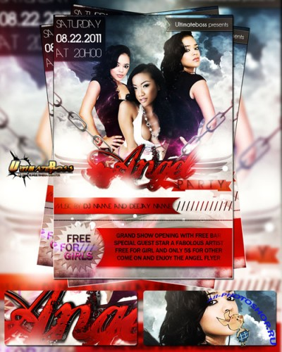 Angel Party Flyer/Poster PSD Template