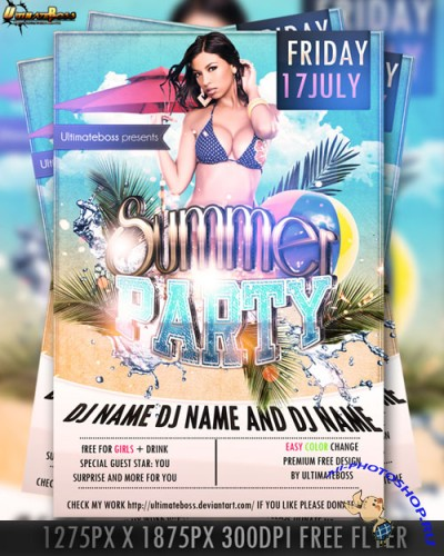 Premium Summer Flyer/Poster PSD Template