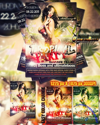 Freemium Tropical Party Flyer/Poster PSD Template