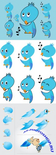 Twitter Bird Vectors for Photoshop