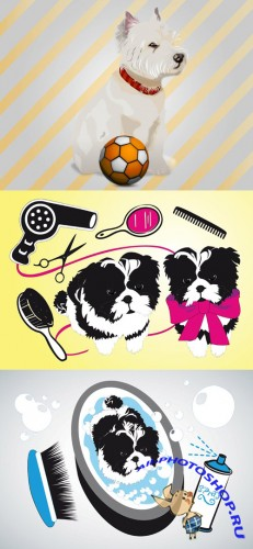 Vector Cute Puppy and Cute Dogs Beauty Salon for Photoshop
