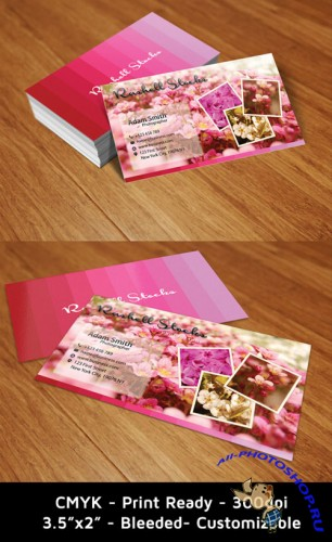 PSD Template - Flowery Business Cards