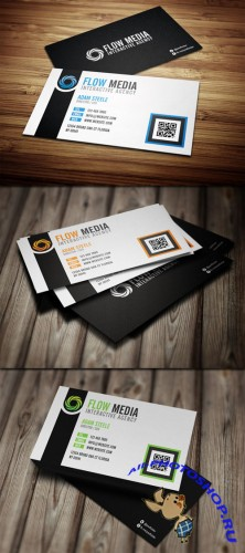 PSD Template - Flow Business Cards in 3 Colors