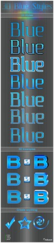 3D Blue Styles for Photoshop
