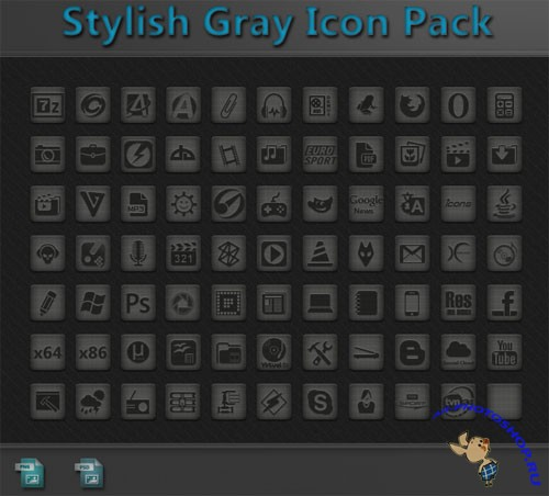 PSD Template - Stylish Gray Icon Pack v1