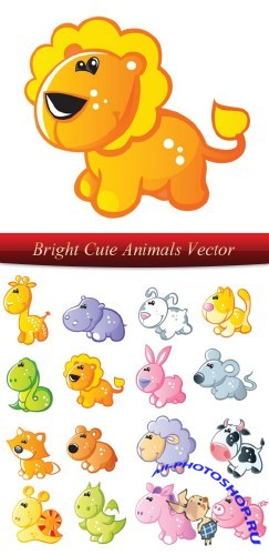 Bright Cute Animals Vector