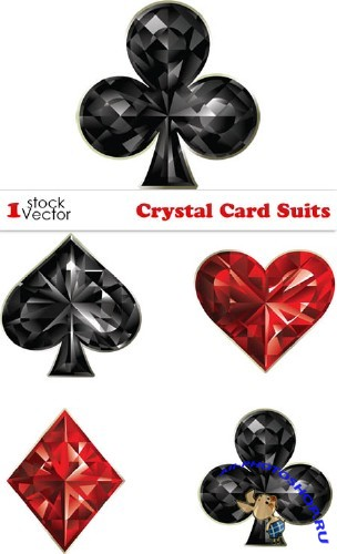 Crystal Card Suits Vector
