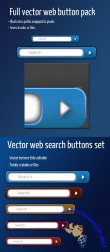Web Page Vector Button for Photoshop - Ribbon