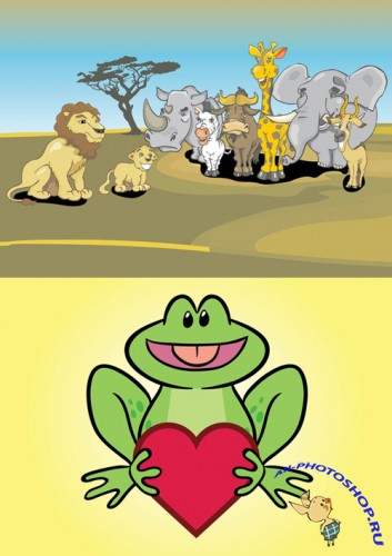 Vector Frog Character and African Animals Cartoon for Photoshop
